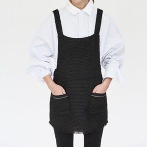 Black Pinafore Dress with pockets and fringe